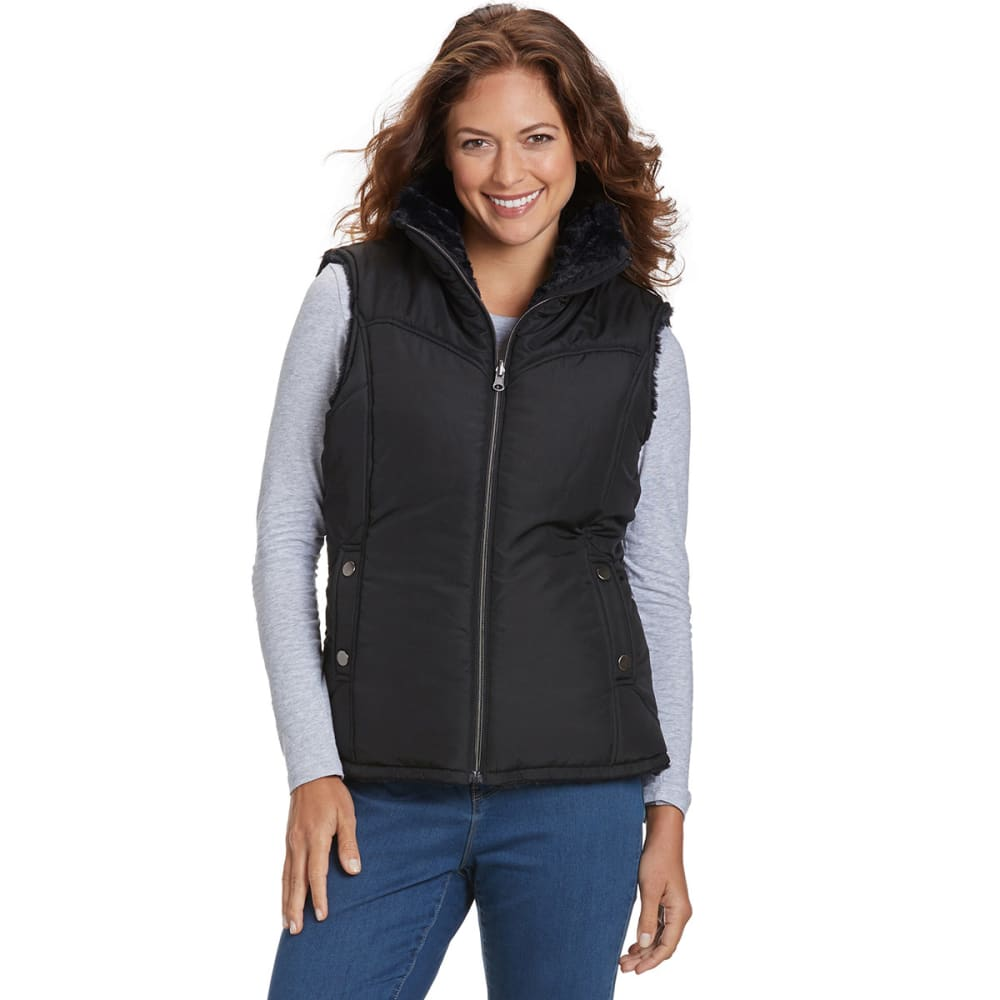 KC COLLECTIONS Women's Reversible Vest - BLACK