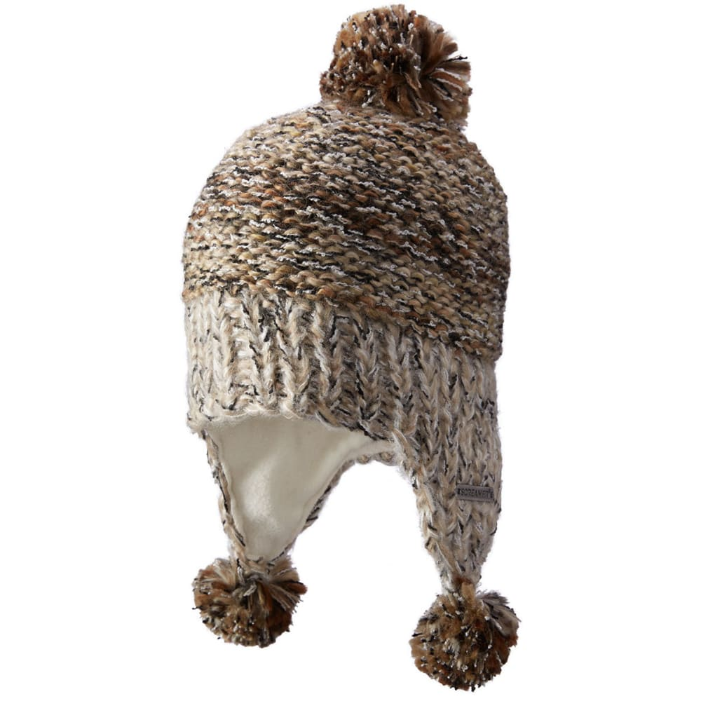 SCREAMER Women's Michelle Earflap Pom Hat - HEATHER STONE