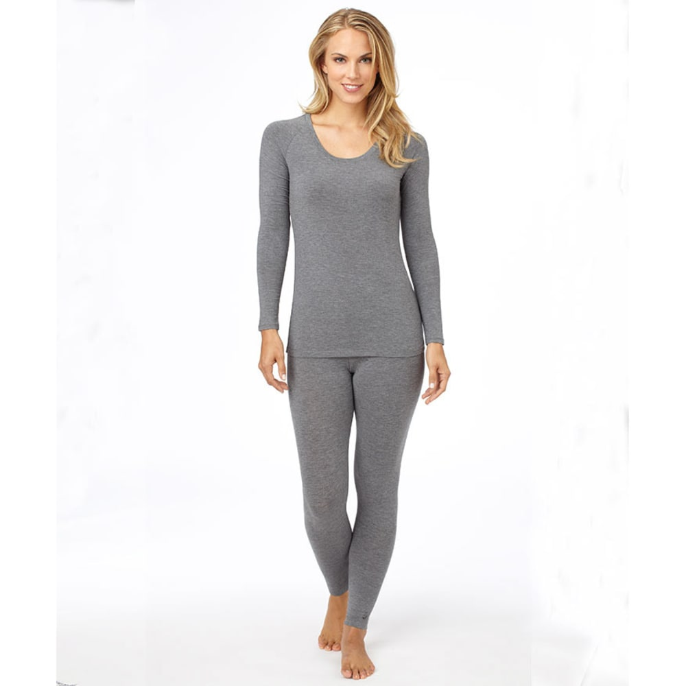 CUDDL DUDS Women's Softwear Stretch Crew Neck Top - CHARCOAL HEATHER
