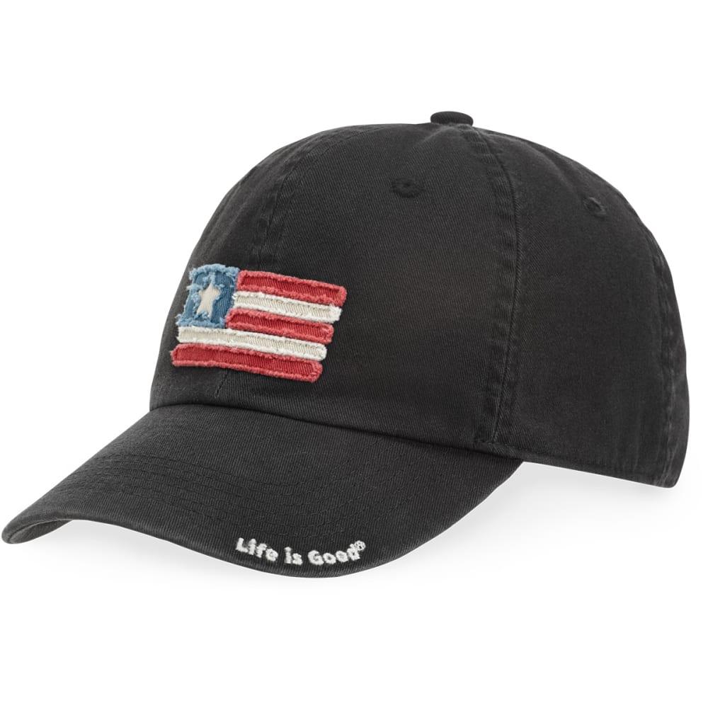 LIFE IS GOOD Men's Flag Tattered Chill Cap - NIGHT BLACK