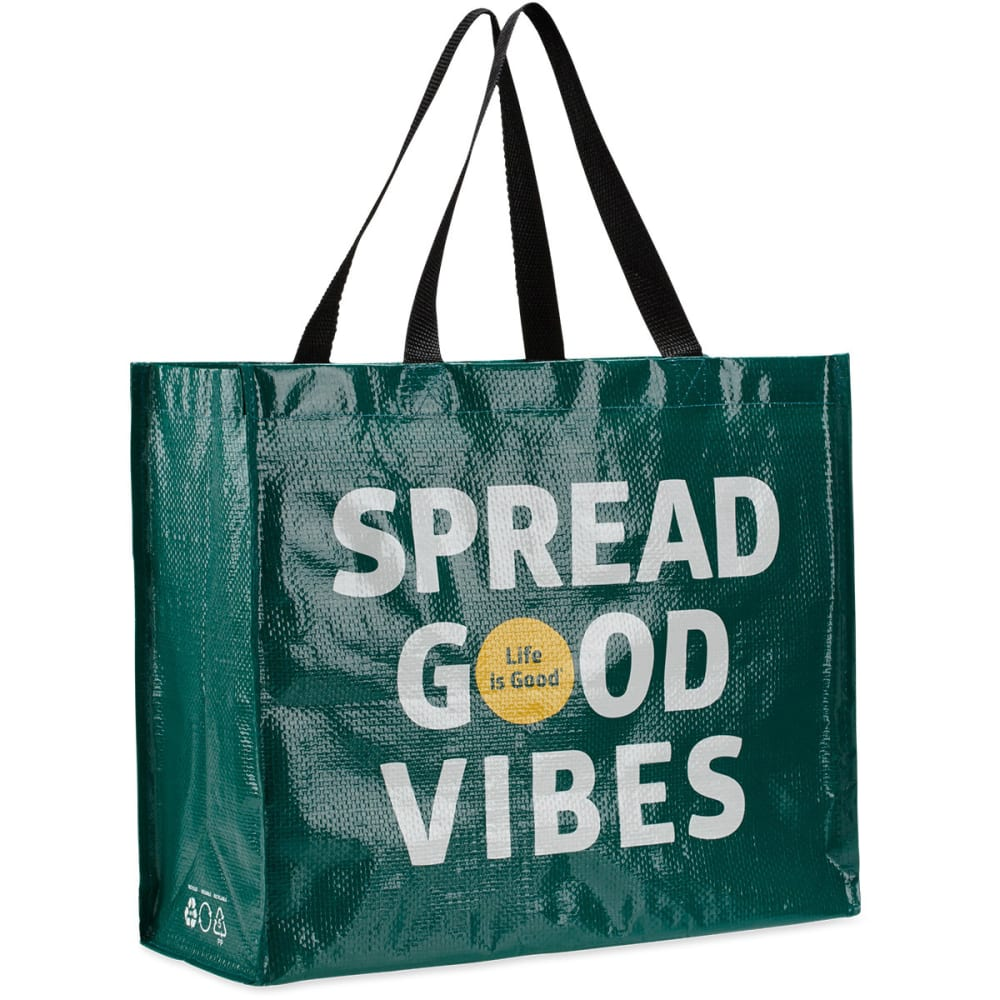LIFE IS GOOD Women's Spread Good Vibes Recycled Shopper Tote - HUNTER GREEN