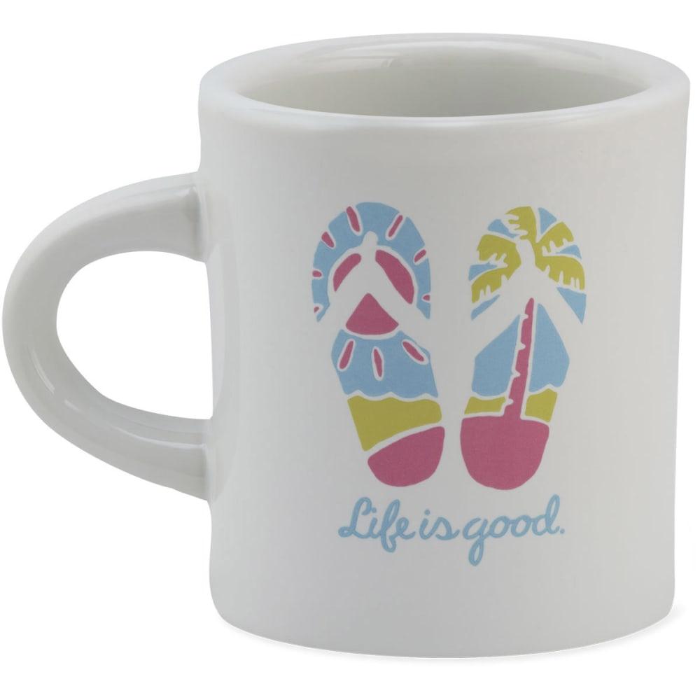 LIFE IS GOOD Women's Flip Flops Diner Mug - WHITE