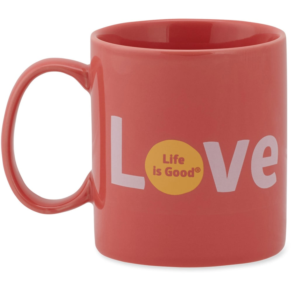 "LIFE IS GOOD ""Love"" Jake's Mug - CORAL"