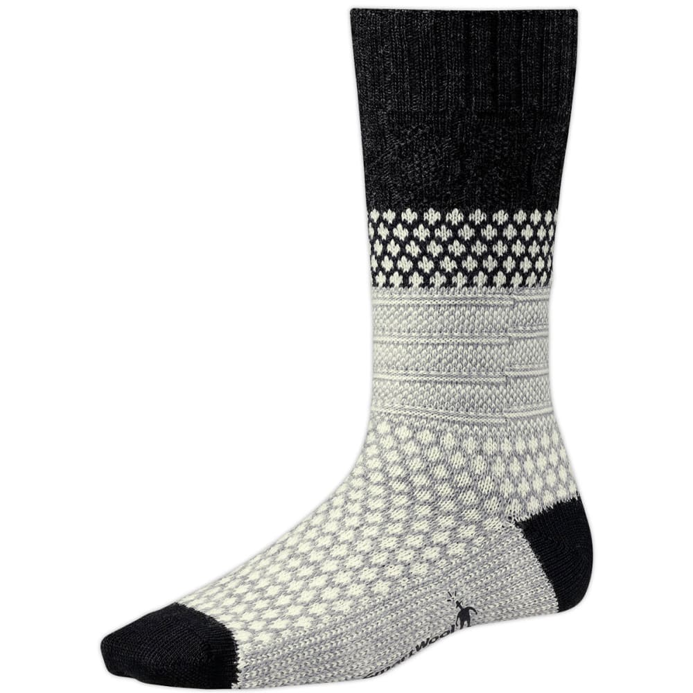 SMARTWOOL Women's Popcorn Cable Socks - WHITE/STEEL PRINT