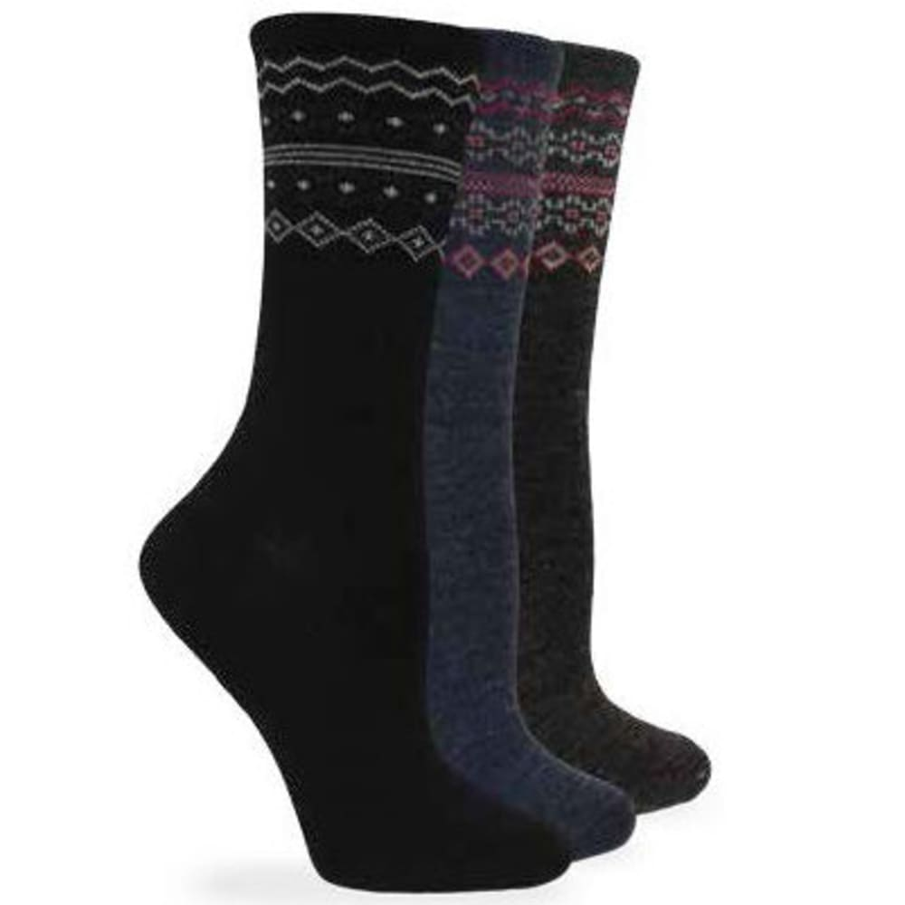WISE BLEND Women's Fairisle Top Crew Wool Socks, 3 Pack - ASST BLK/DEN/BRN