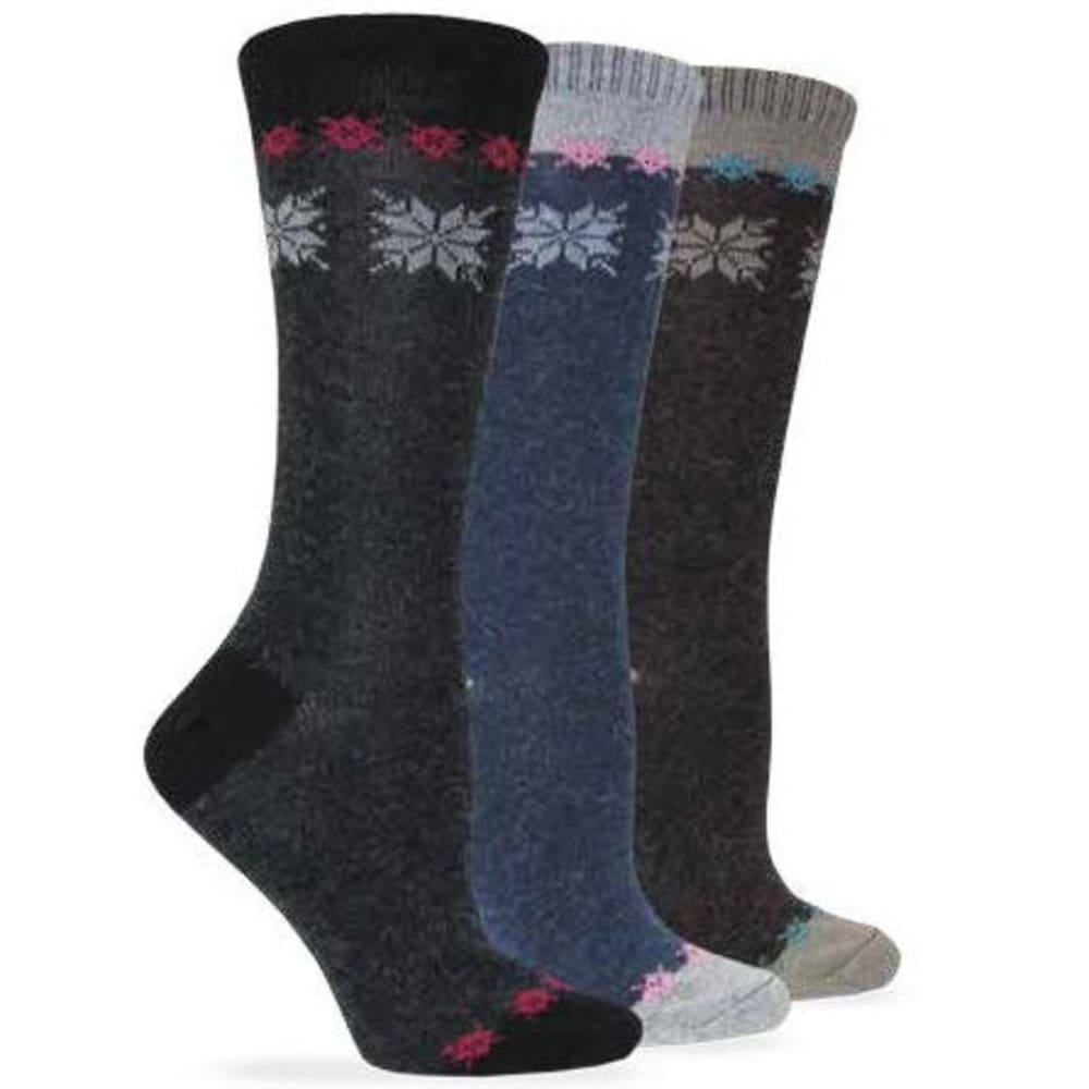 WISE BLEND Women's Angora Snowflake Crew Socks, 3 Pack - ASST BLK/DEN/BRN