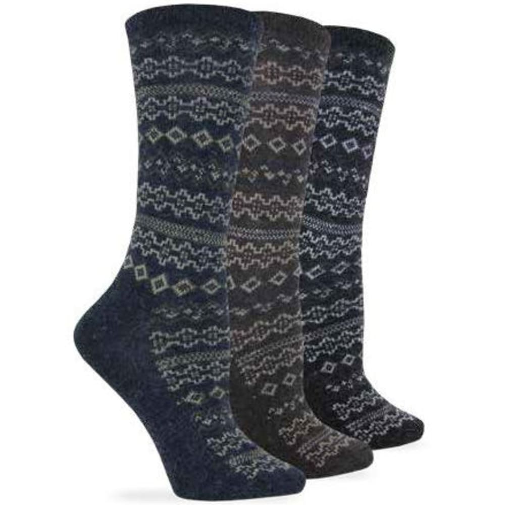 WISE BLEND Women's Angora Aztec Crew Socks, 3 Pack - ASST DENIM/BROWN/CHR