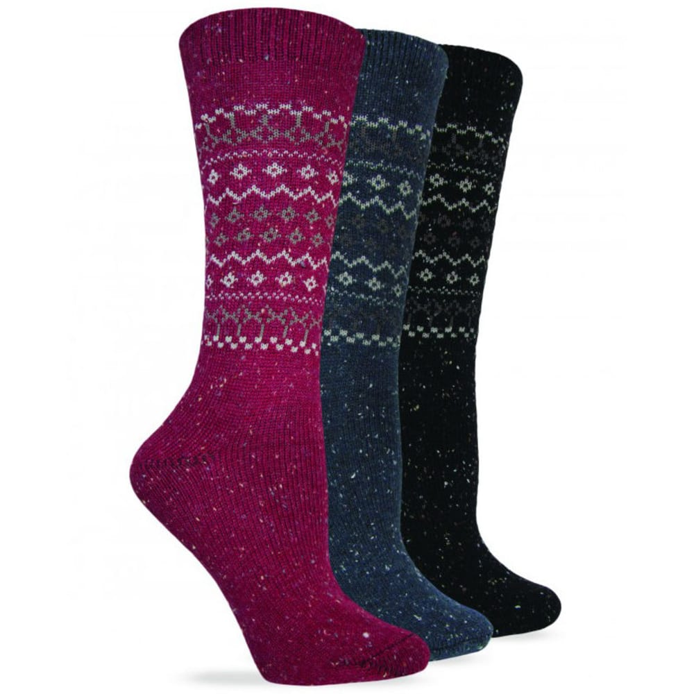 WISE BLEND Women's Retro Heavyweight Crew Socks, 3 Pack - ASST RED/DEN/BLK