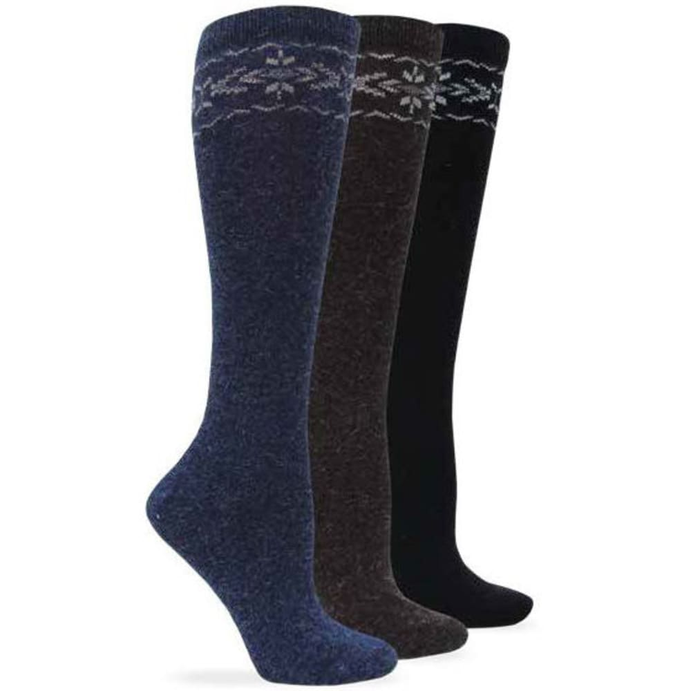 WISE BLEND Women's Angora Flower Knee High Socks, 3 Pack - ASST BLK/DENIM/BROWN