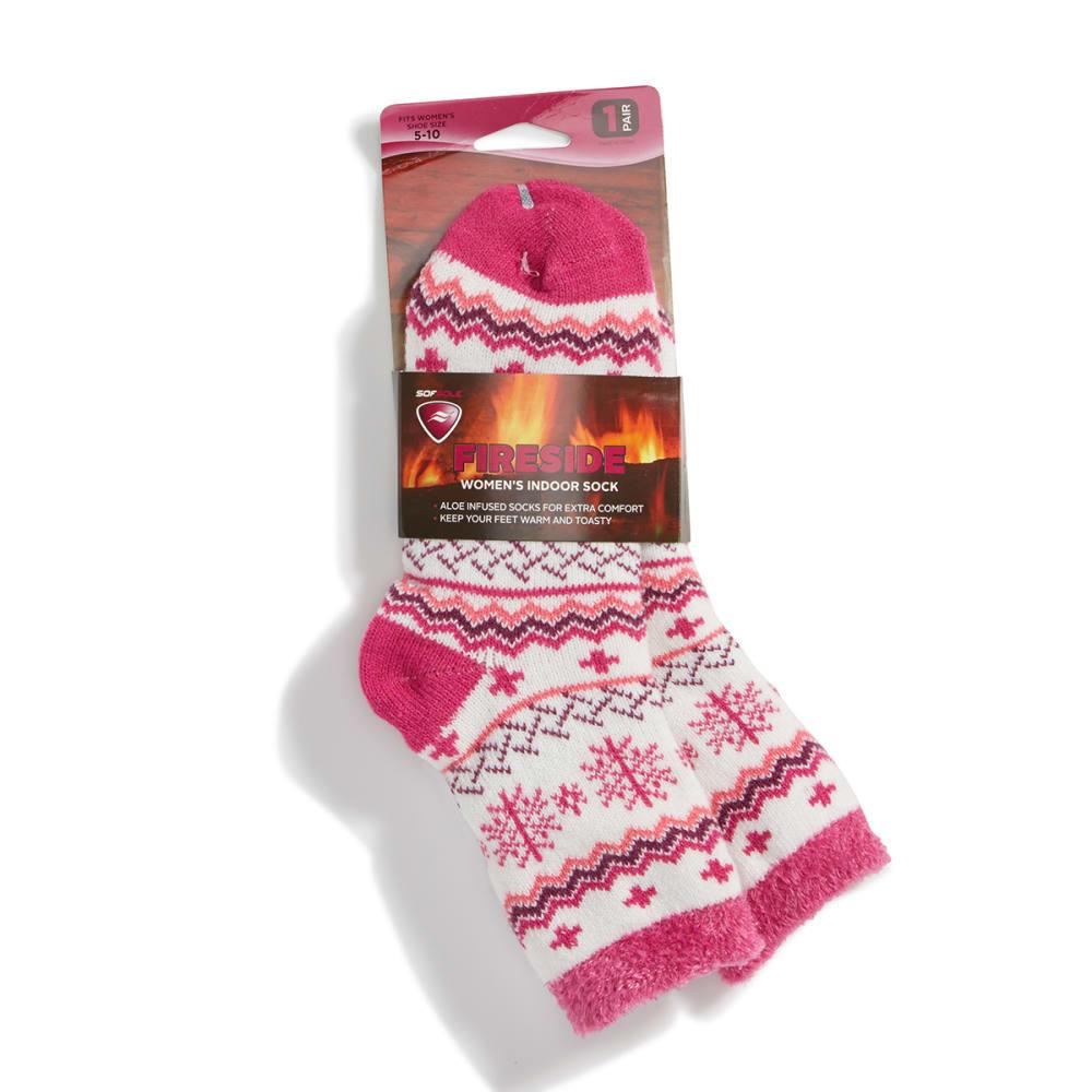 SOFSOLE Women's Daisy Fireside Cabin Socks, Black - PNK/WHT