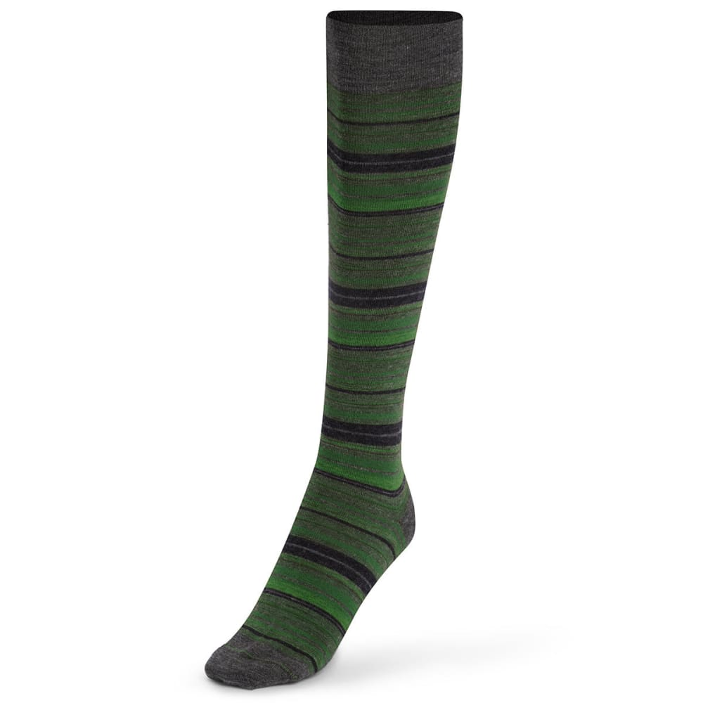 CABOT Women's Striped Knee-High Socks - FOREST GREEN