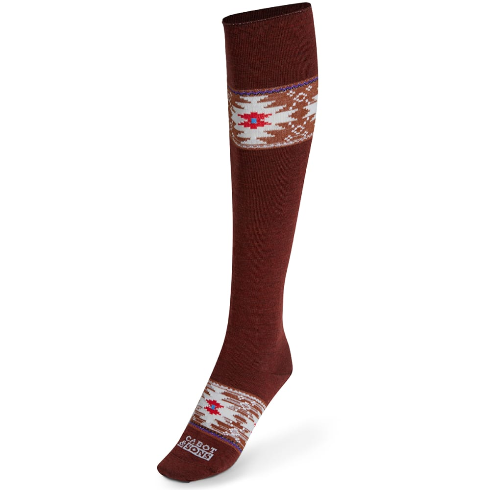 CABOT Women's Navajo Fairisle Knee-High Socks - CHESTNUT