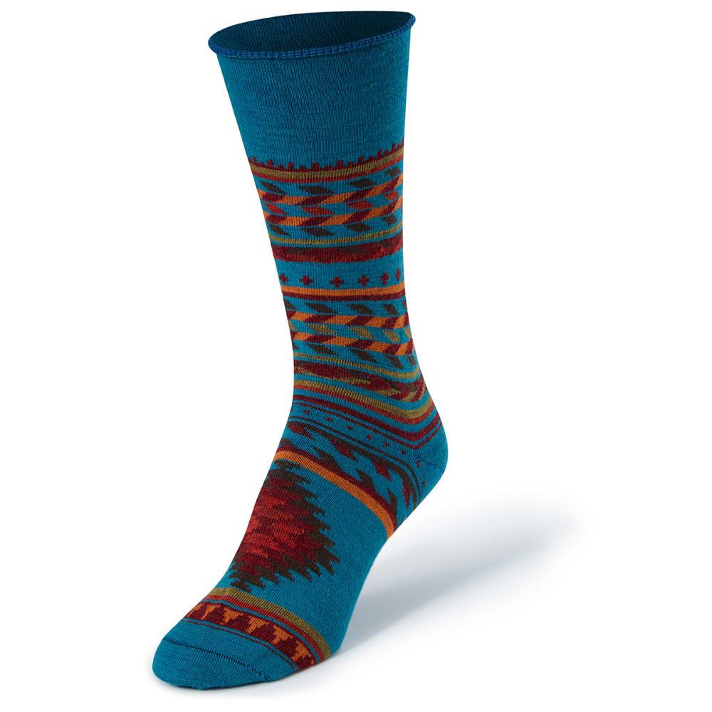 CABOT Women's Inca Stripe Crew Socks - TEAL