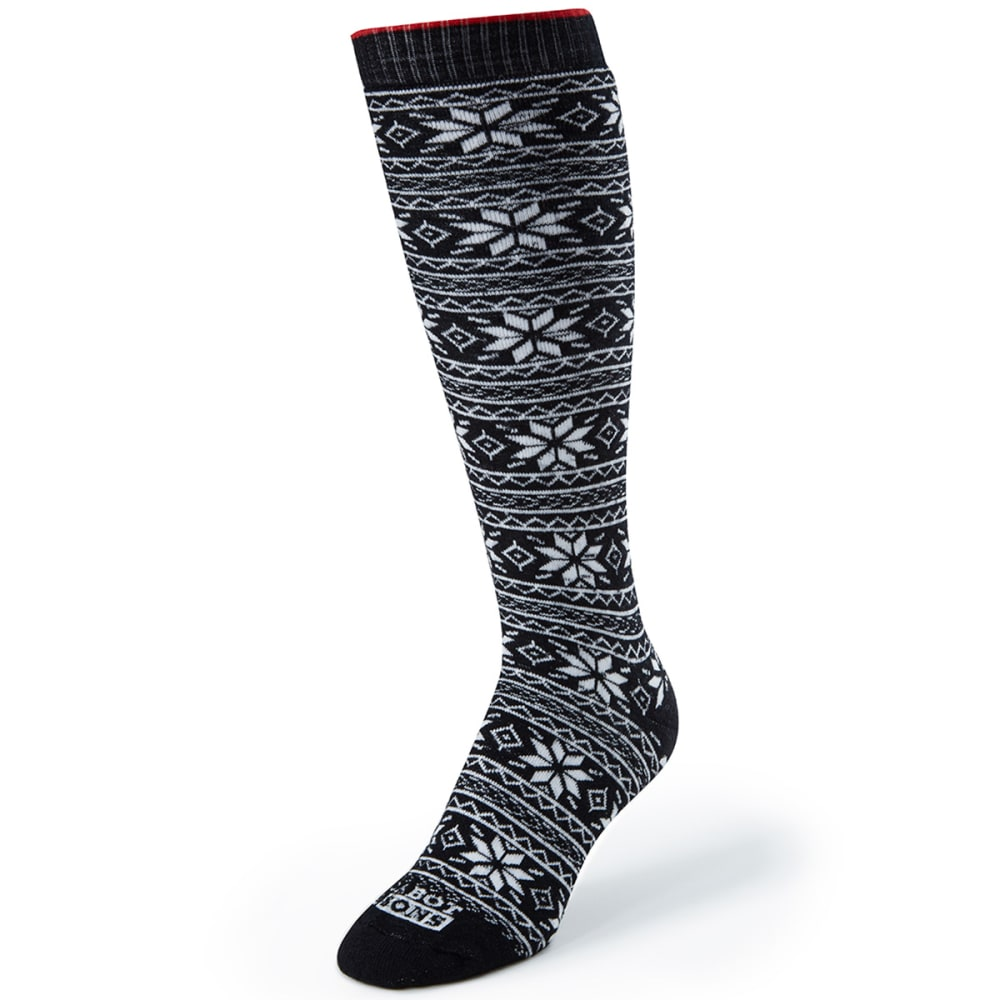 CABOT Women's Snowflake Socks - BLACK/WHITE