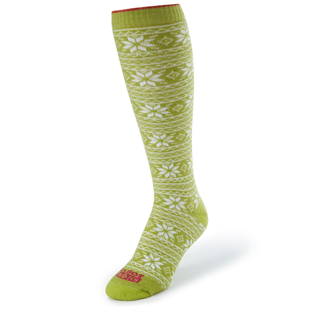 CABOT Women's Snowflake Socks - GREEN/WHITE