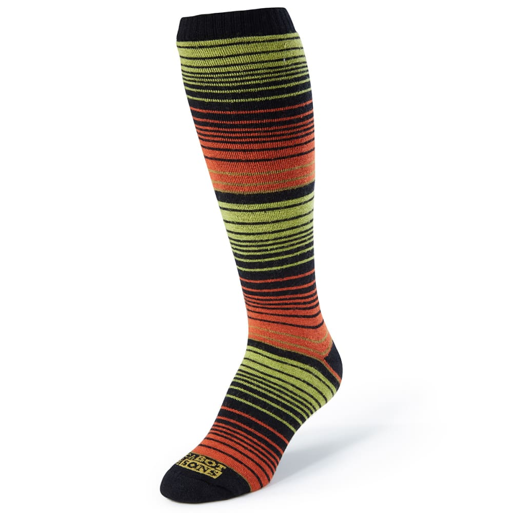 CABOT Women's Striped Crew Socks - BLACK/ORANGE