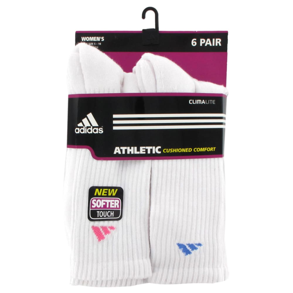 ADIDAS Women's Athletic Crew Socks, 6-Pack - WHITE/ASSORTED