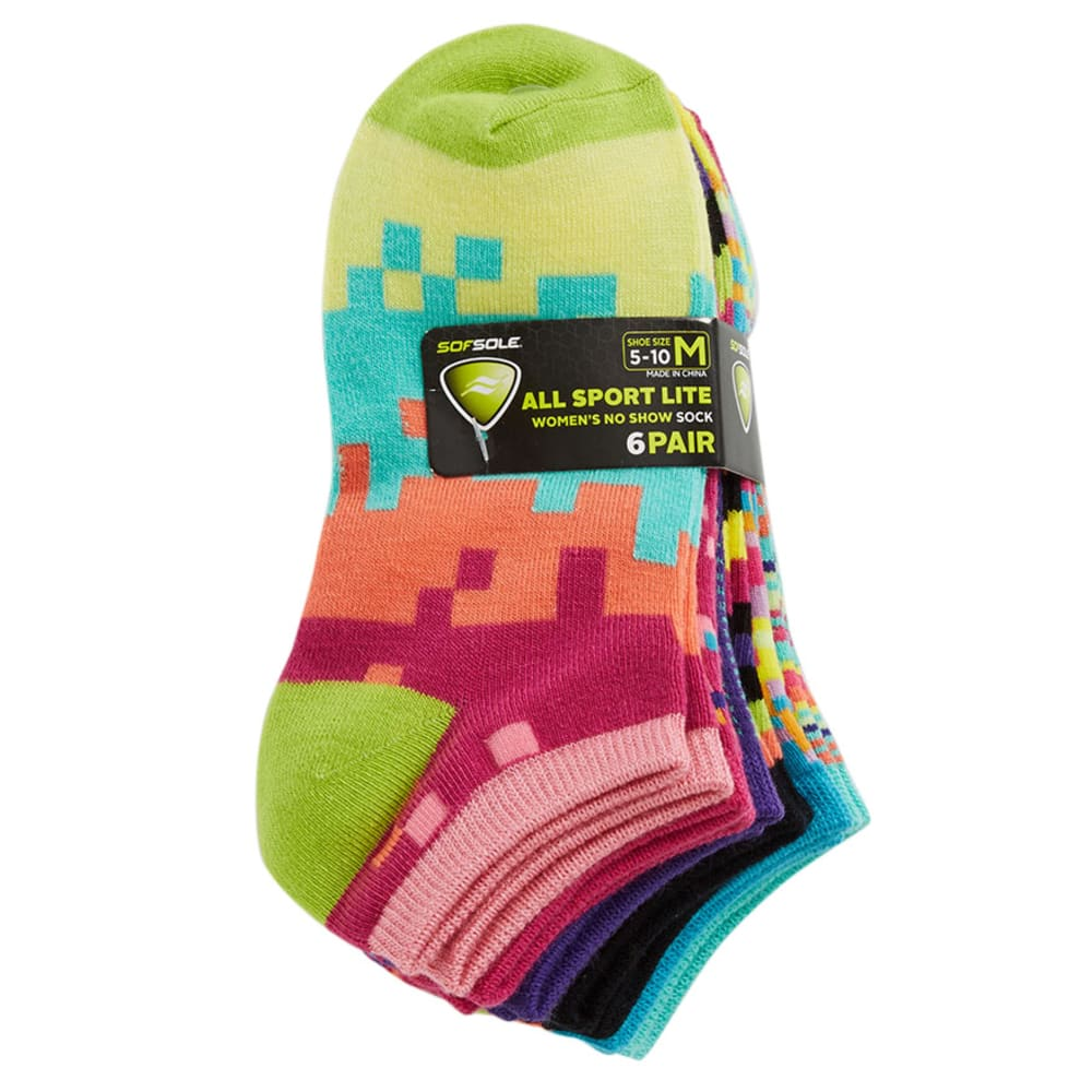 SOFSOLE Women's 89649 6 Pack All Sport Lite No Show Digital Color Block - ASSORTED