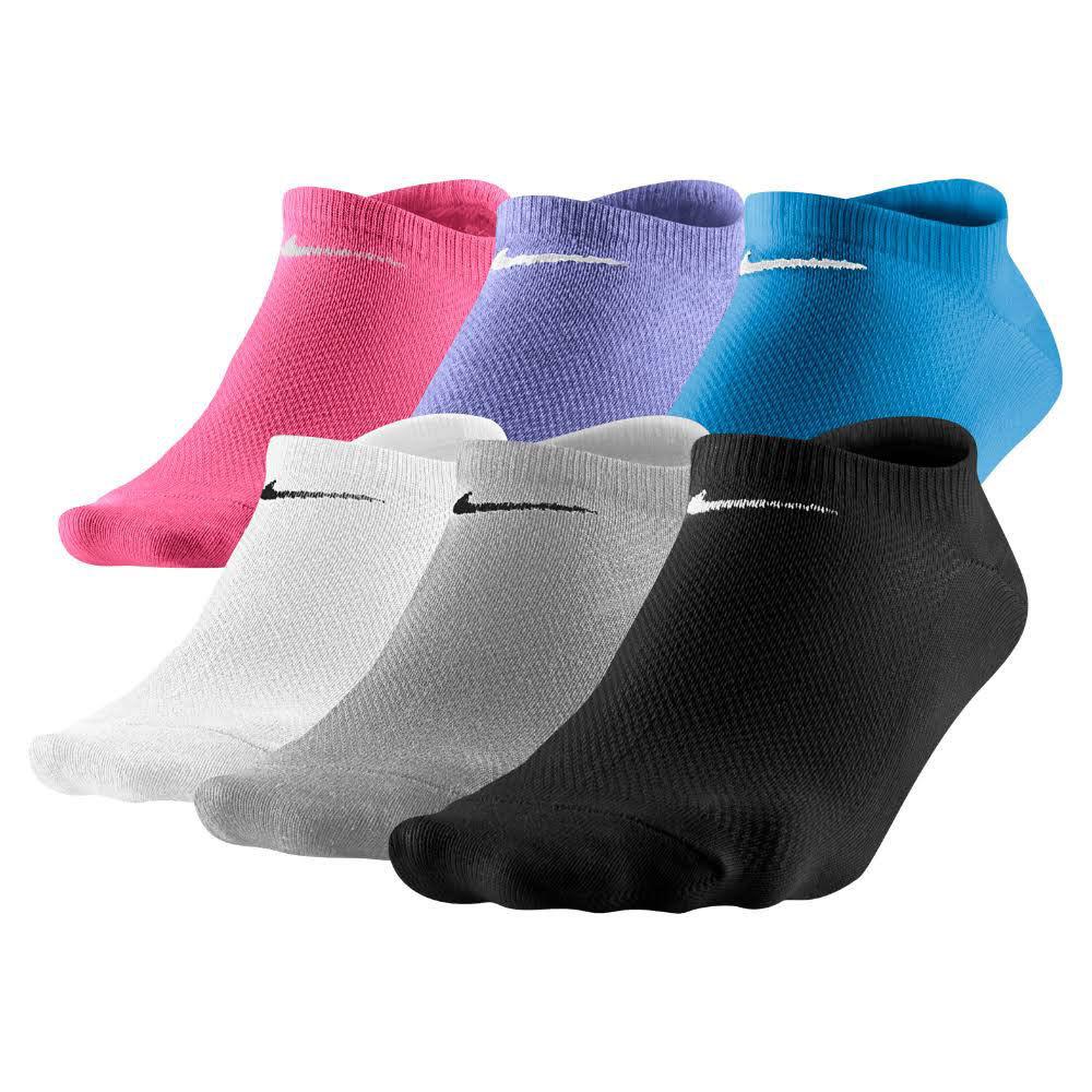 NIKE Women's Lightweight No-Show Socks, 6 Pairs - BIRCH/CORAL