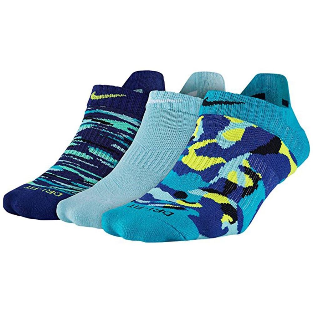 NIKE Women's Dri-Fit Graphic No-Show Socks, 3 Pairs - HORIZON BLUE