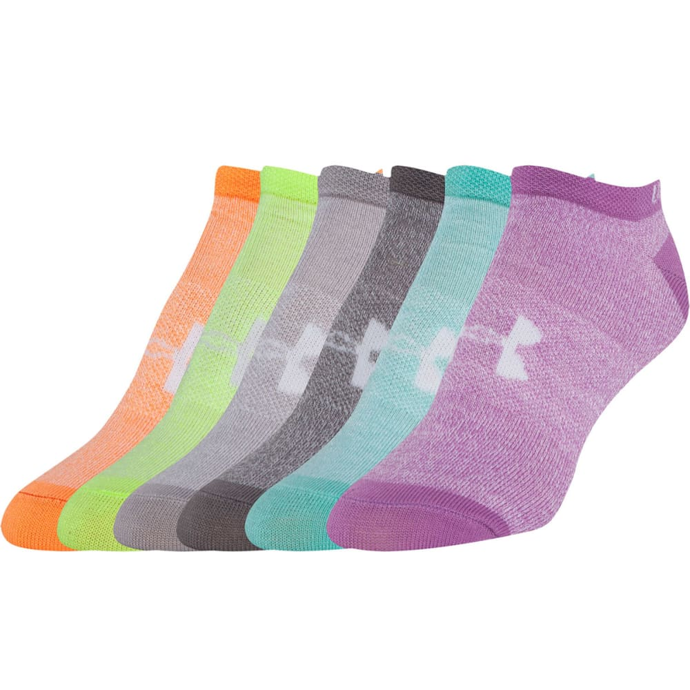 UNDER ARMOUR Women's Liner No Show Socks, 6 Pack - MARL ASSORT-964