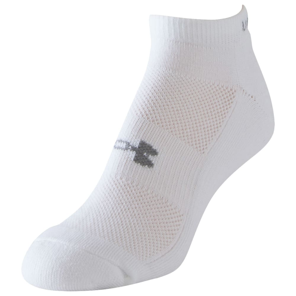 UNDER ARMOUR Women's HeatGear® Cushion No Show Socks, 3-Pack - WHITE