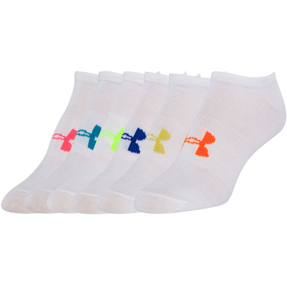 UNDER ARMOUR Women's 6-Pack Big Logo No-Show Neon Socks - WHITE ASST-960