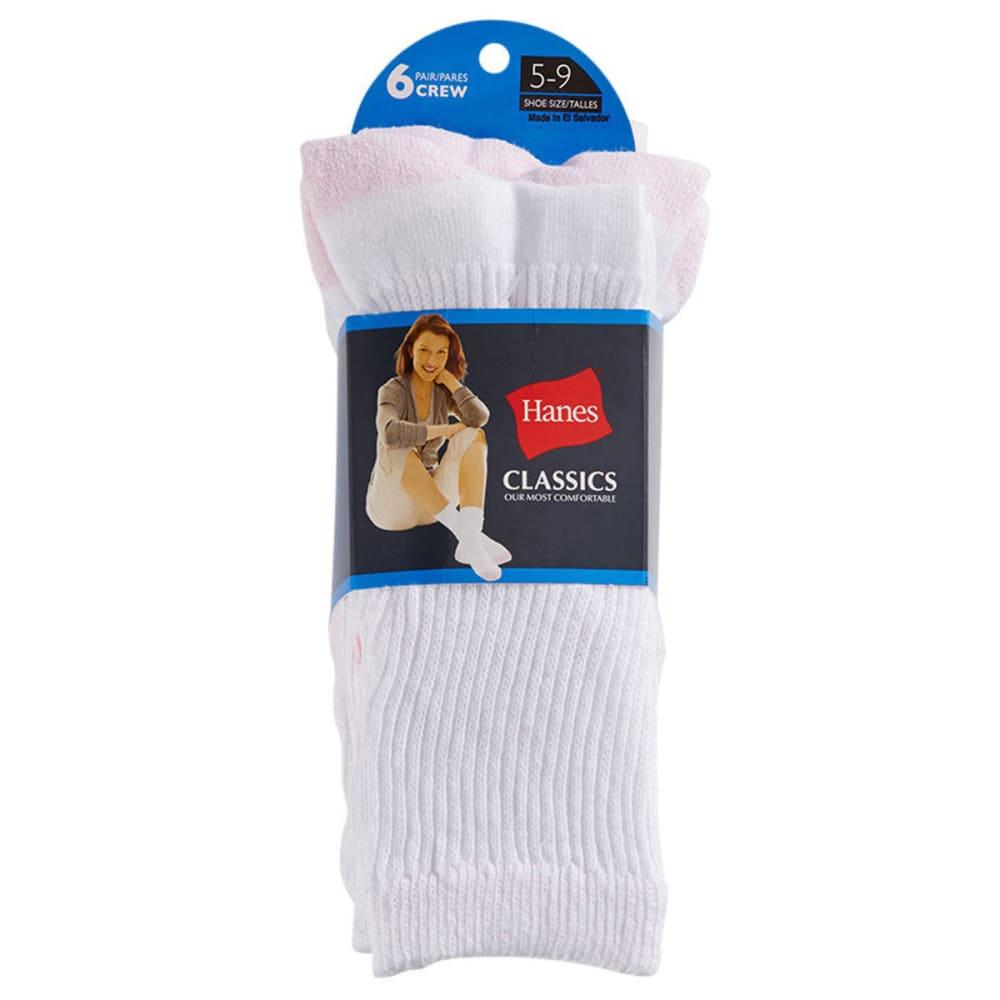 HANES Women's Classics Crew Socks, 6-Pack - WHITE