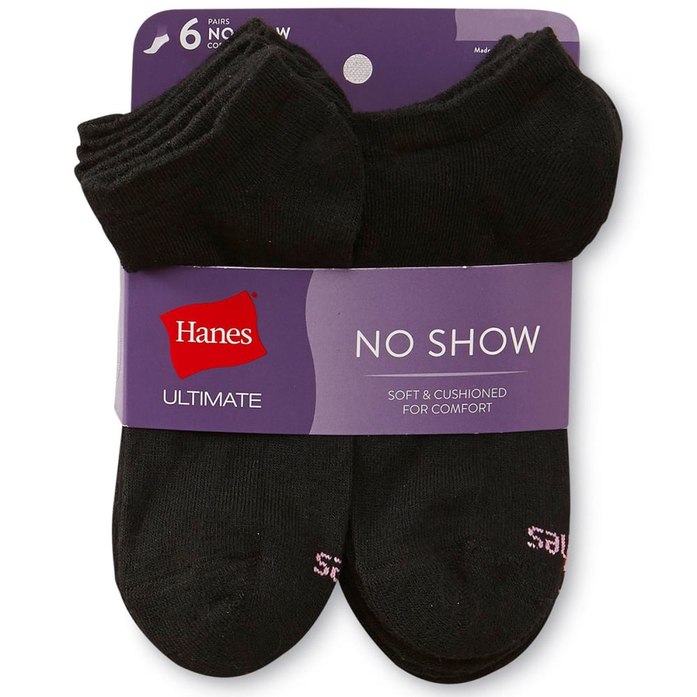 HANES Women's Ultimate Core No-Show Socks, 6-Pack 9-11