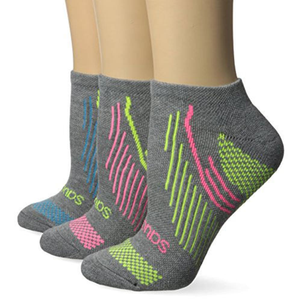 SAUCONY Women's River No-Show Socks, 3-Pack - GREY-010