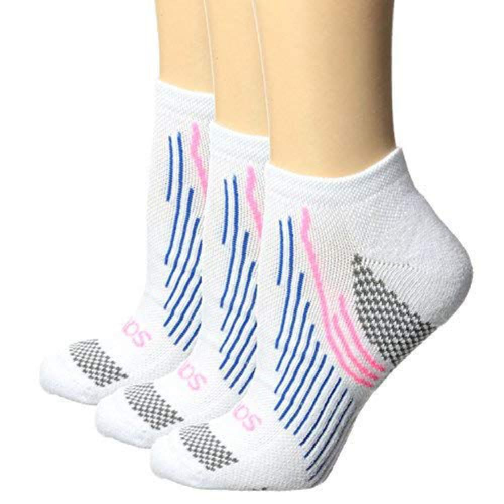 SAUCONY Women's River No-Show Socks, 3-Pack - WHITE-102