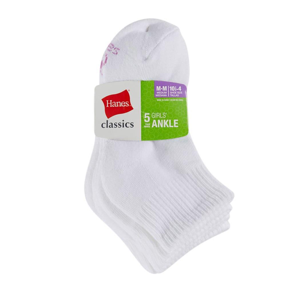 HANES Girls' Classics Low Cut Socks, 5-Pack - ASSORTED
