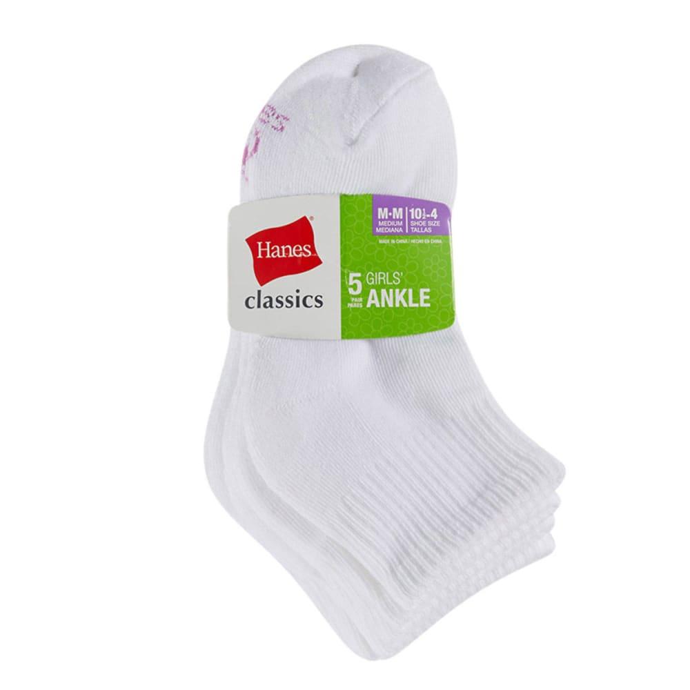 HANES Girls' Classics Ankle Socks, 5-Pack - WHITE