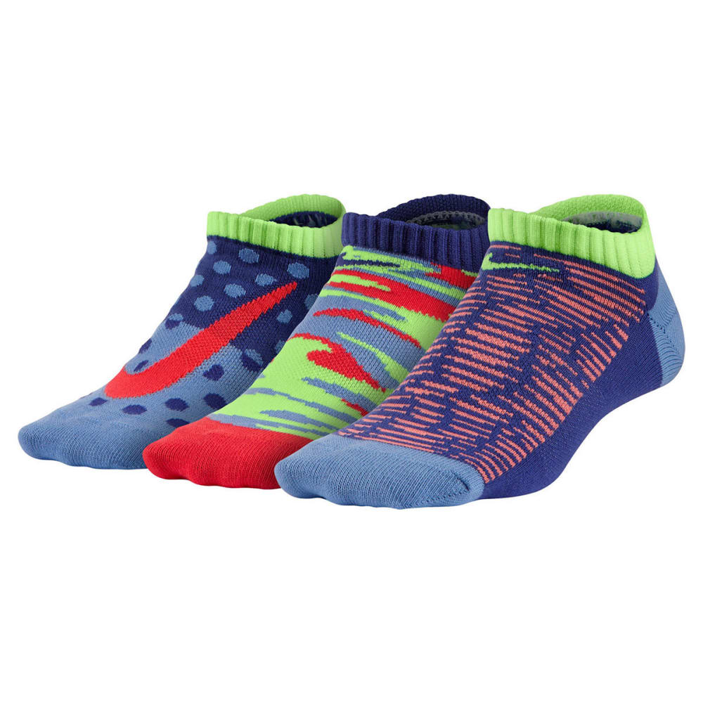 NIKE Girls' Graphic No Show Socks, 3 Pairs - MULTI 940
