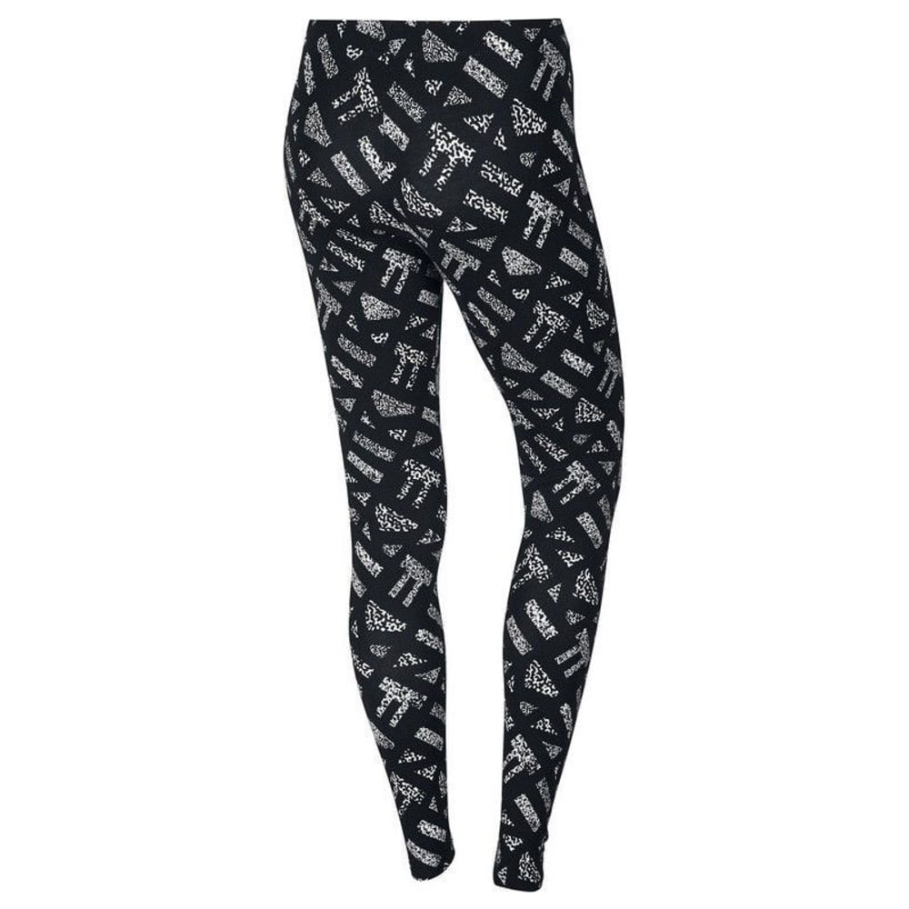NIKE Women's Club Print Leggings - BLACK/WHITE