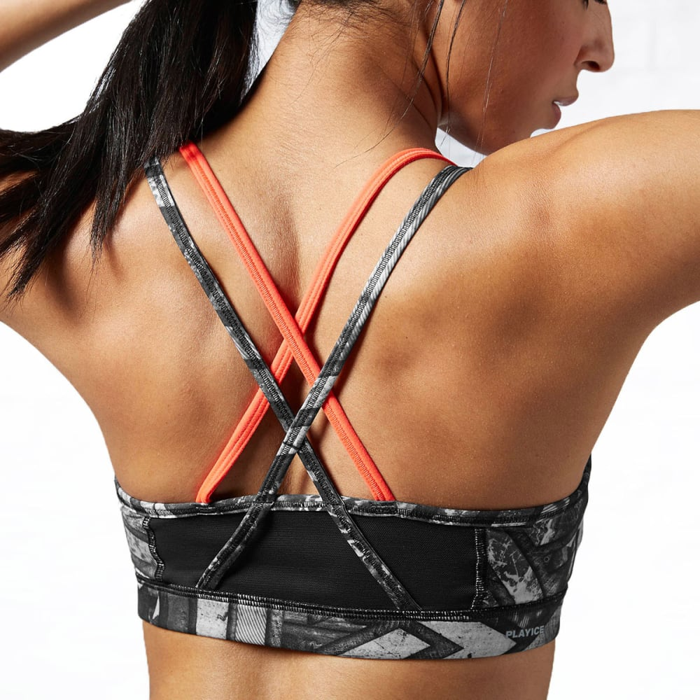 REEBOK Women's One Series Stripe Bra - BLACK