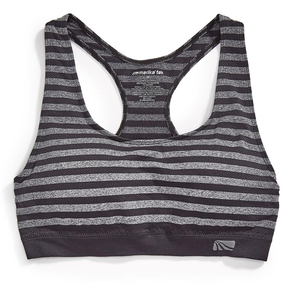 MARIKA Women's Seamless Mesh Stripe Sport Bra - BLACK