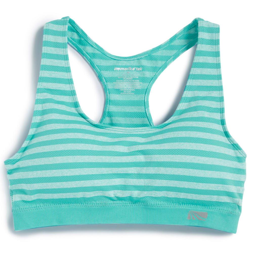 MARIKA Women's Seamless Mesh Stripe Sport Bra - BEACH GLASS