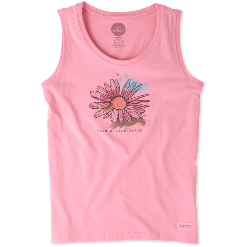 LIFE IS GOOD Women's Engraved Nice Daisy Sleeveless Crusher Scoop Tee - ROSE PINK
