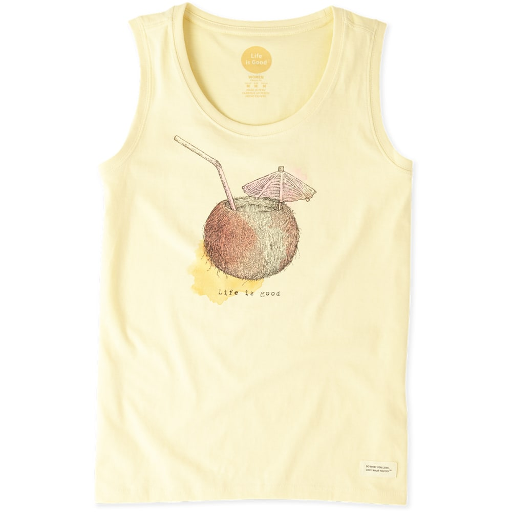 LIFE IS GOOD Women's Engraved Coconut Cocktail Sleeveless Crusher Scoop Tee - SOFT YELLOW