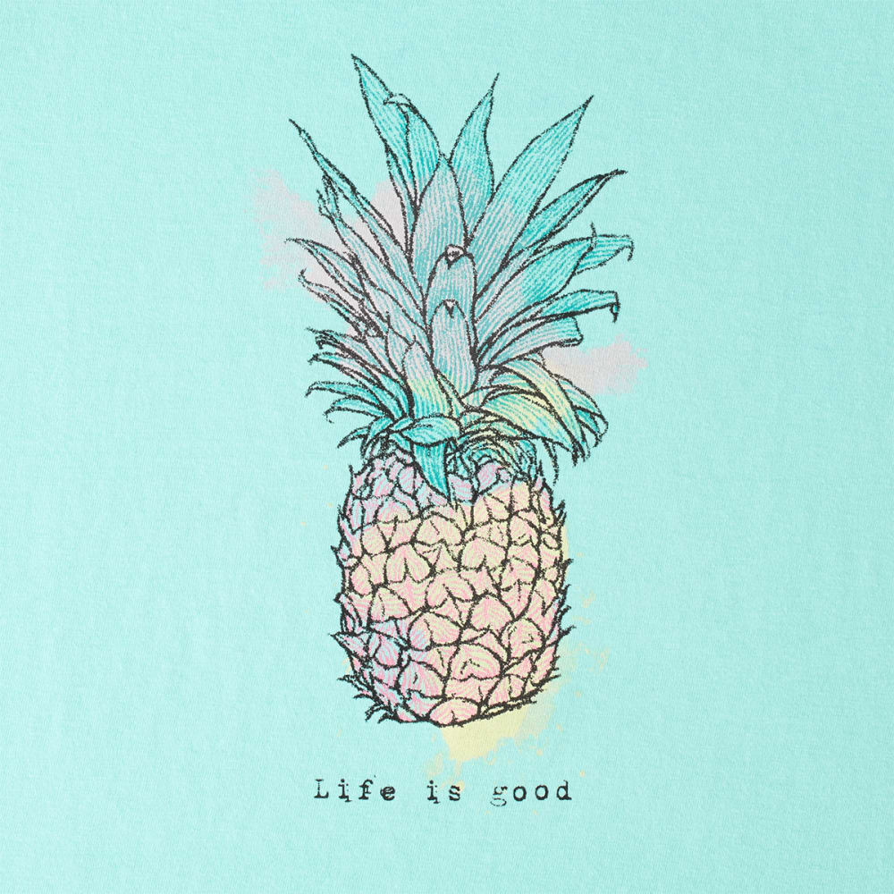 LIFE IS GOOD Women's Engraved Pineapple Sleeveless Crusher Scoop Tee - COOL AQUA