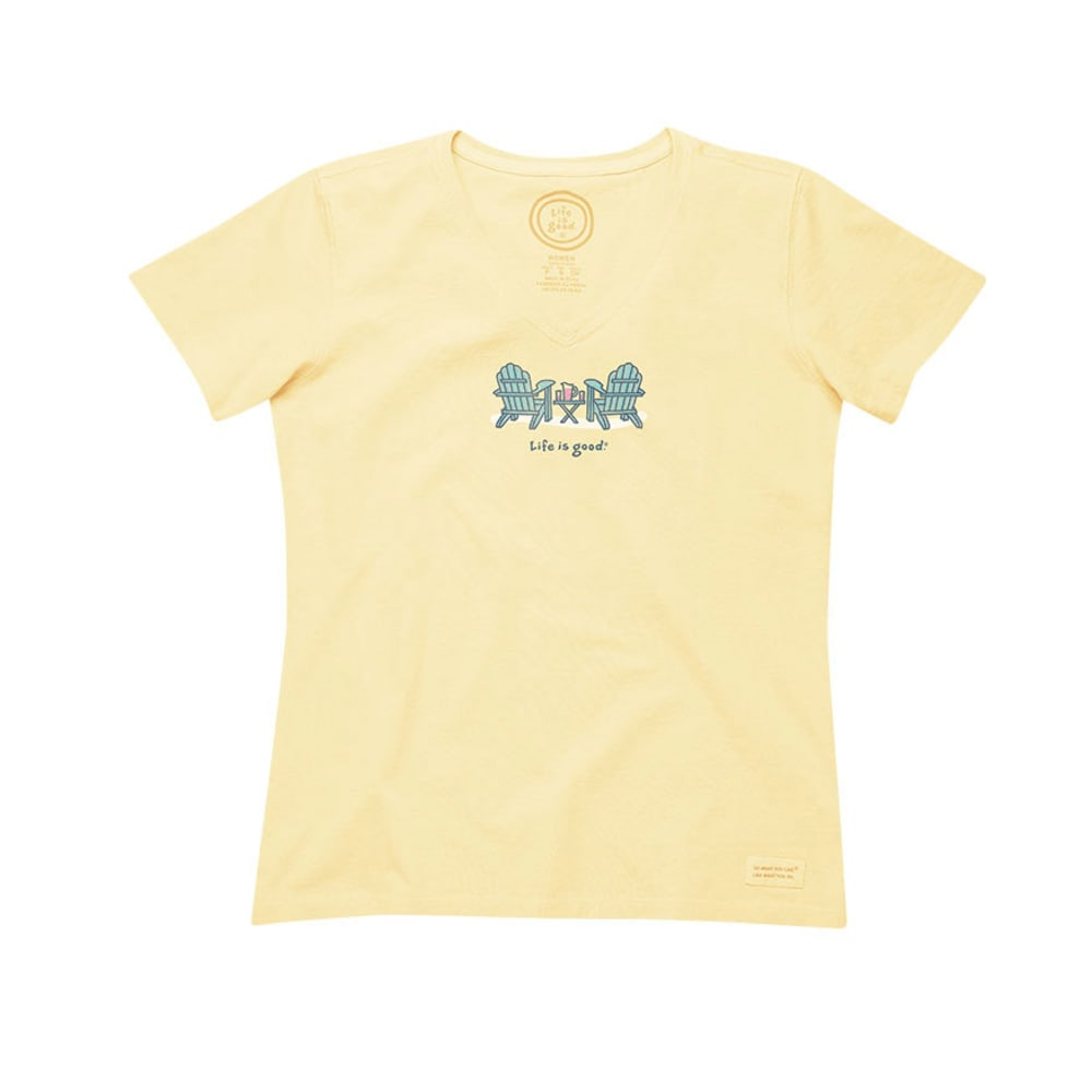LIFE IS GOOD Women's Summer Chairs V-Neck Crusher Tee - CANARY YELLOW
