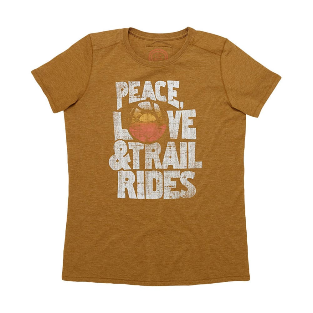 LIFE IS GOOD Womens Peace Love & Trail Rides Cool Tee - CABIN BROWN