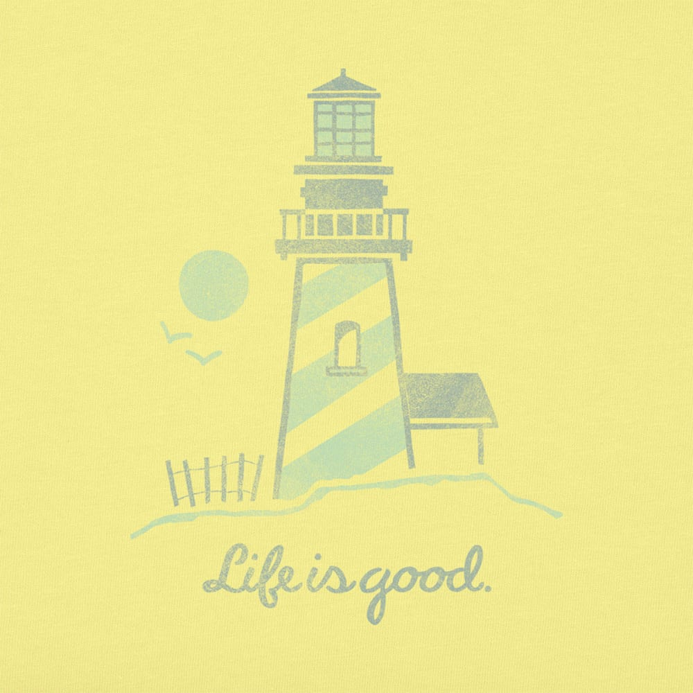 LIFE IS GOOD Women's Lighthouse Script Crusher Tee - LEMONY YELLOW