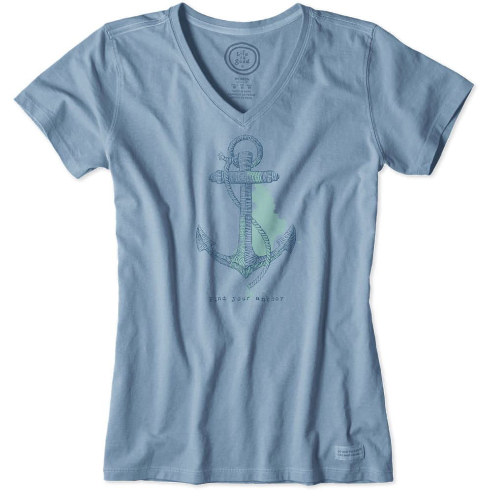 LIFE IS GOOD Women's Engraved Anchor Crusher V-Neck Tee - MINERAL BLUE