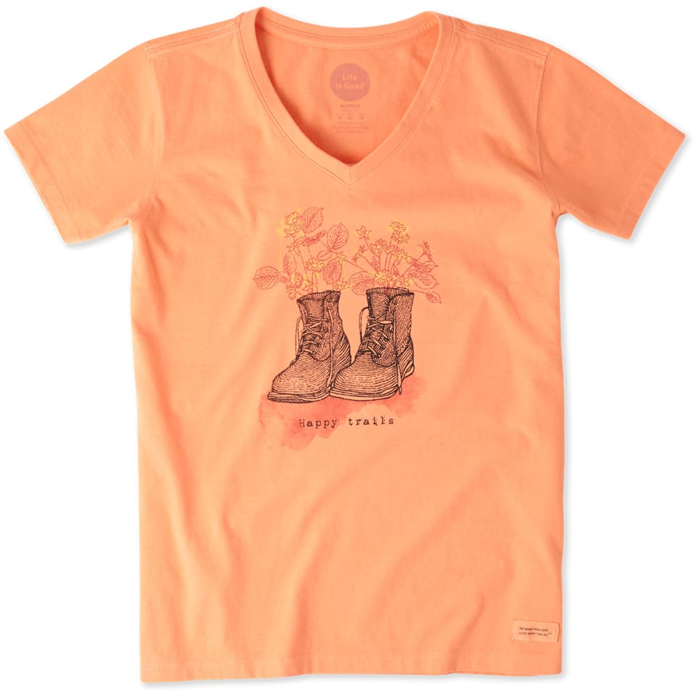 LIFE IS GOOD Women's Happy Trails Crusher Tee - FRESH PEACH