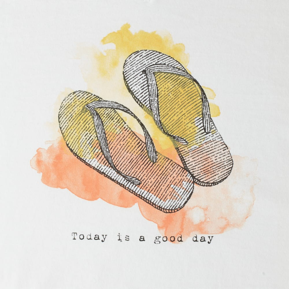 LIFE IS GOOD Women's Engraved Good Day Flip Flops V-Neck Crusher Tee - CLOUD WHITE
