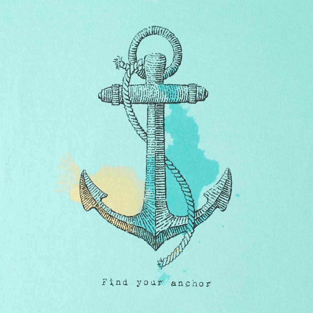 LIFE IS GOOD Women's Find Your Anchor V-Neck Crusher Tee - BLUE