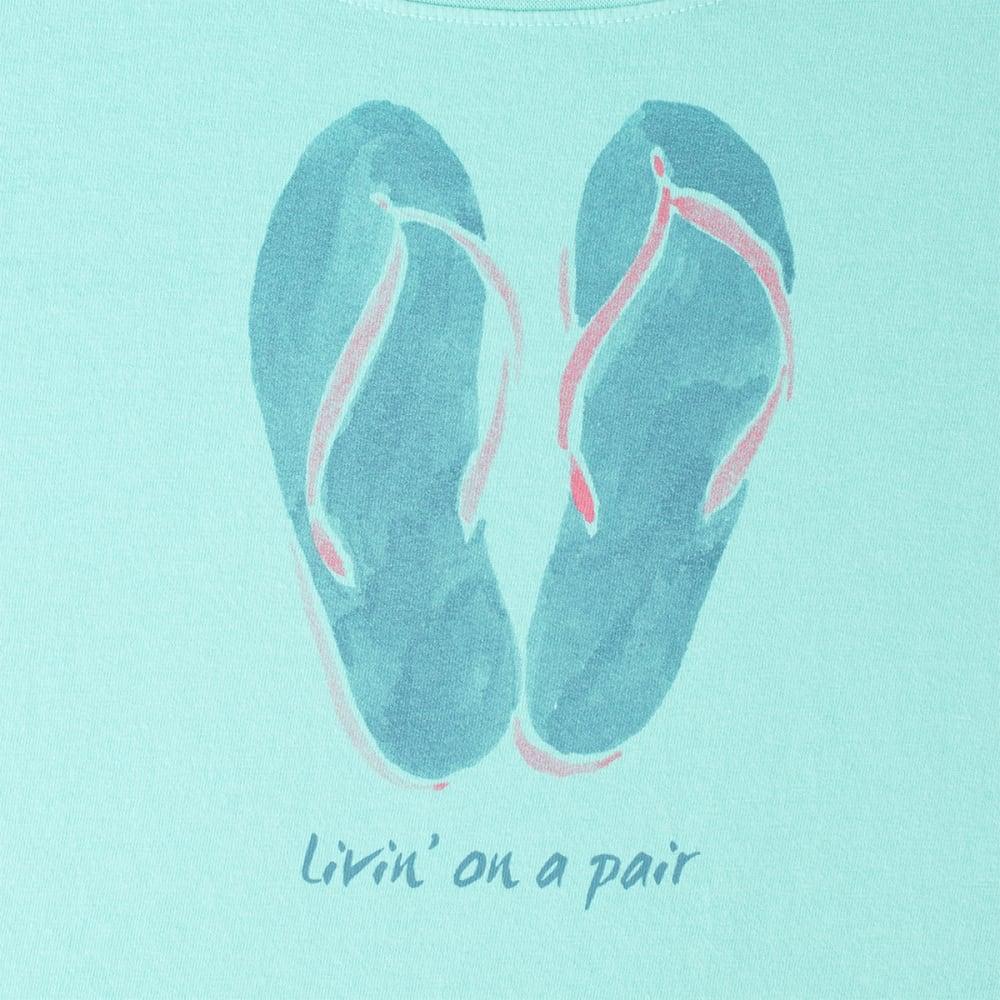LIFE IS GOOD Women's Watercolor Livin' Flip Flops Crusher Scoop Tee - COOL AQUA