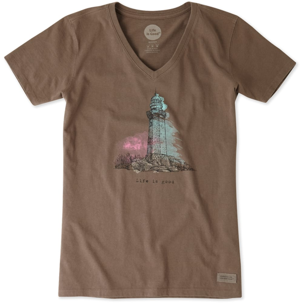 LIFE IS GOOD Women's Engraved LIG Lighthouse Crusher V-Neck Tee - SHALE BROWN
